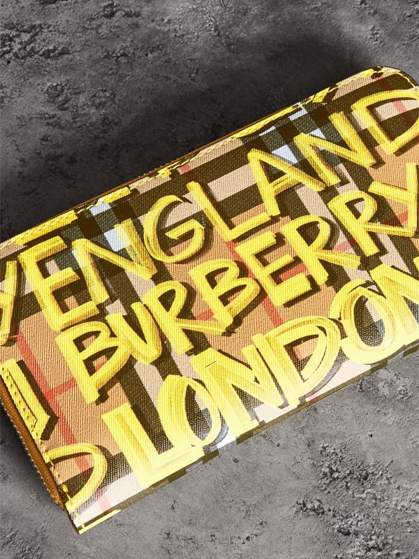 Graffiti Print Vintage Check Leather Ziparound Wallet in Yellow - Women | Burberry - cell image 2