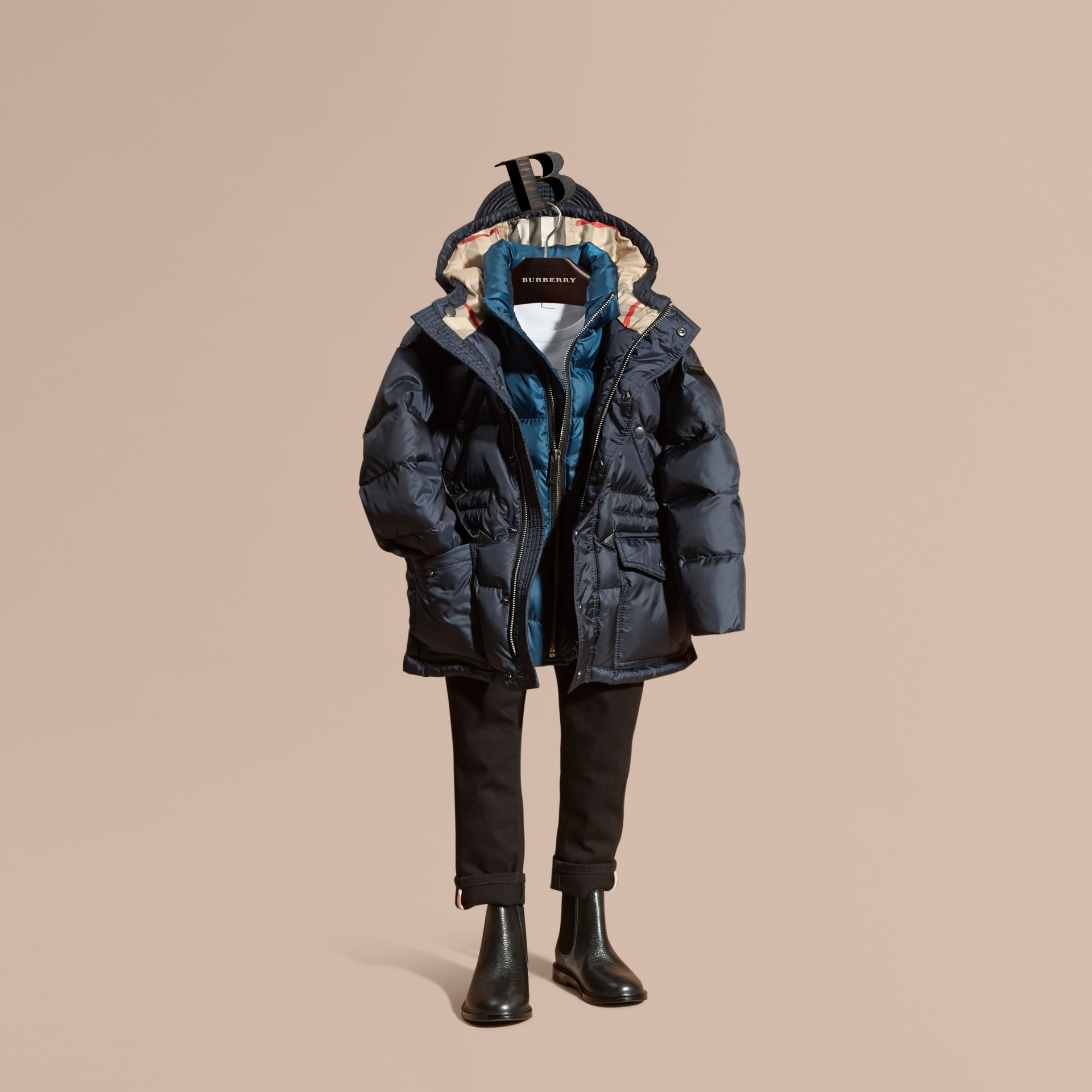 Down-Filled Hooded Puffer Coat in Navy - gallery image 1