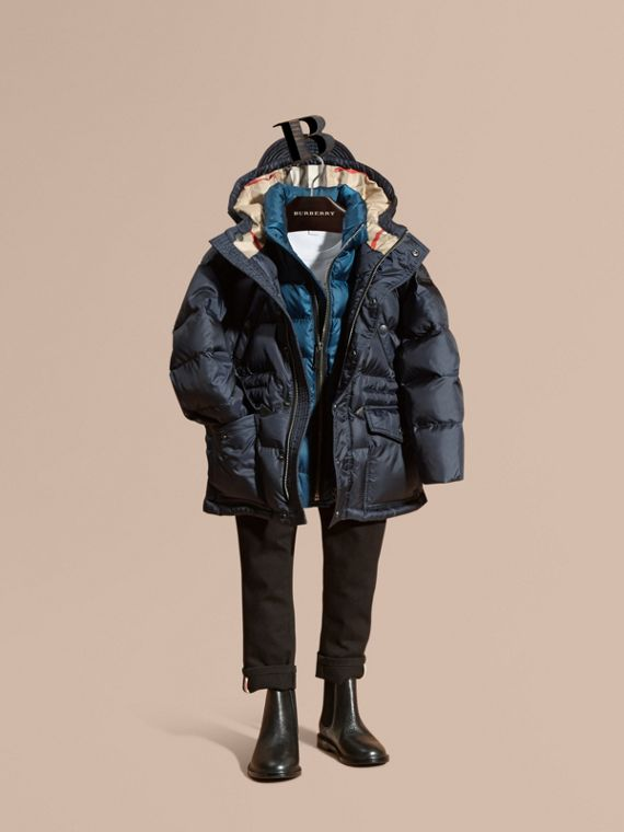 Down-Filled Hooded Puffer Coat Navy