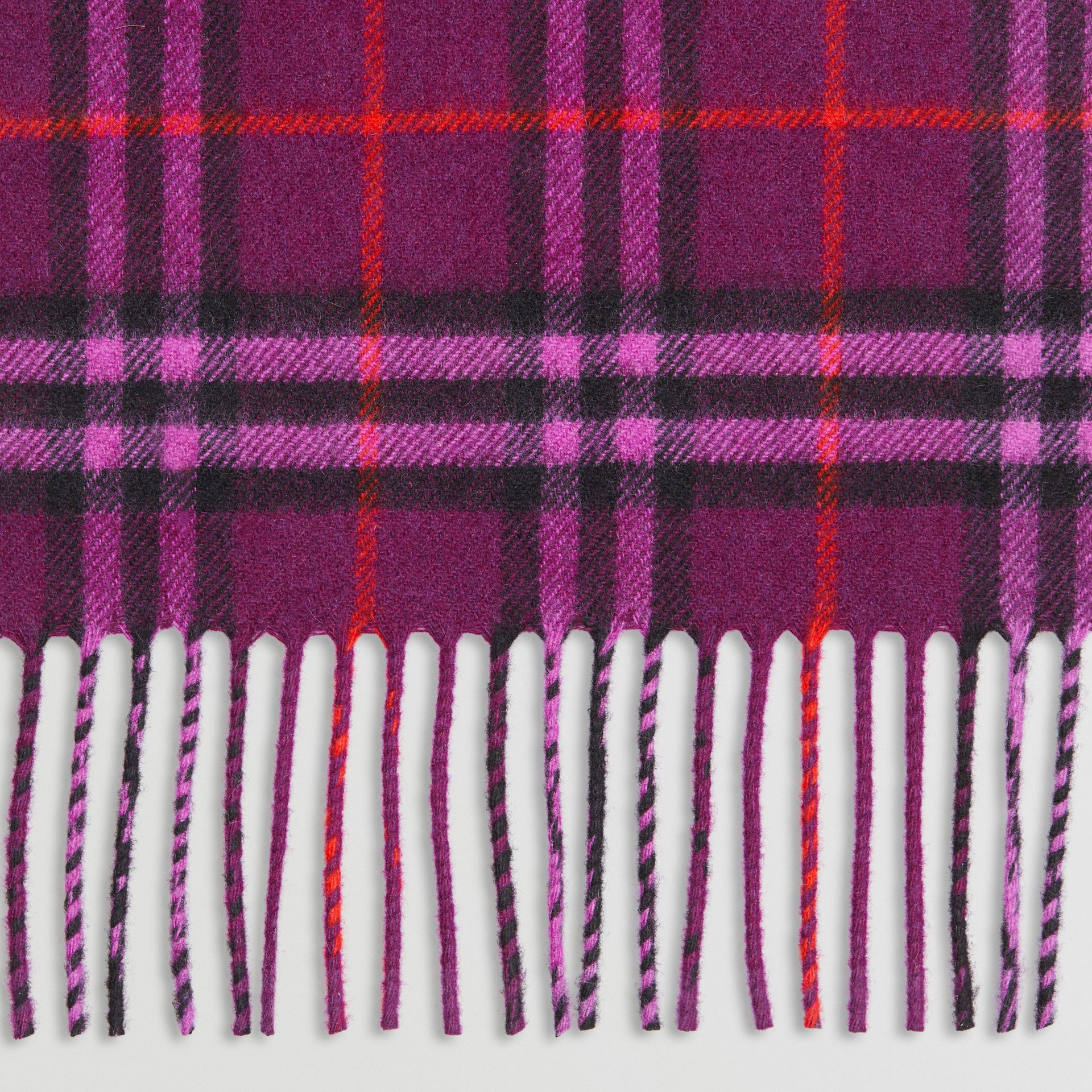 The Classic Vintage Check Cashmere Scarf in Dark Violet | Burberry United Kingdom - gallery image 1