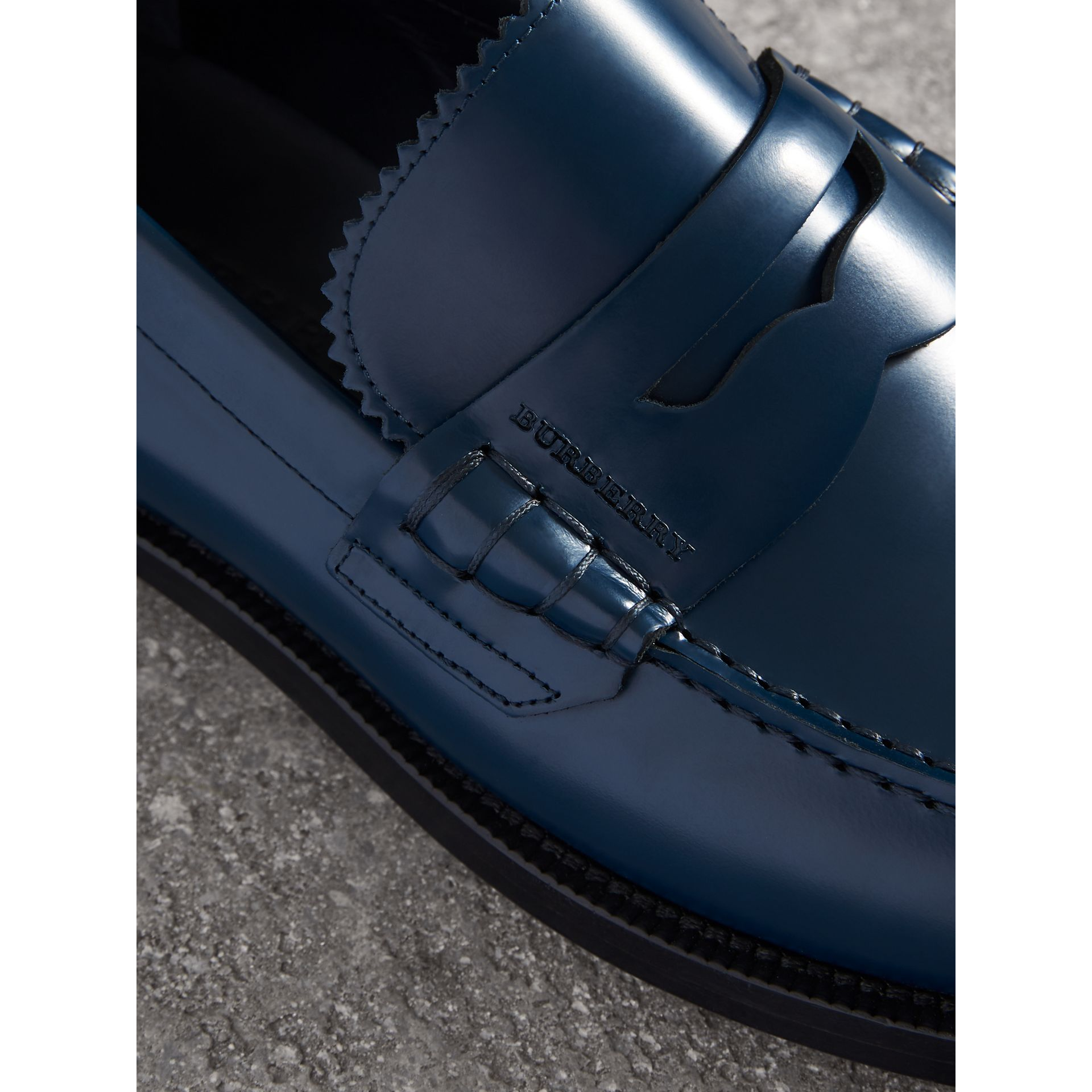 Leather Penny Loafers in Navy - Men | Burberry - gallery image 1
