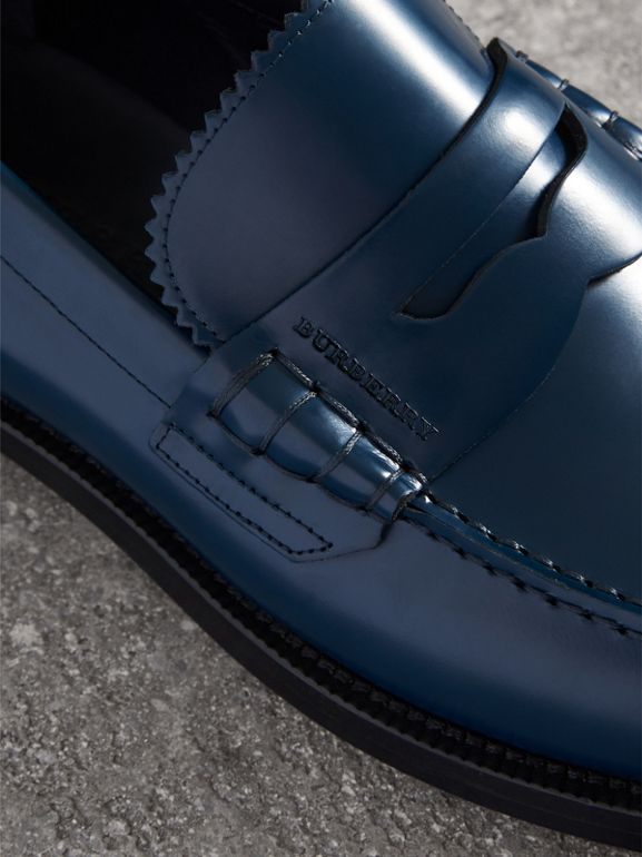 Leather Penny Loafers in Navy - Men | Burberry Canada - cell image 1