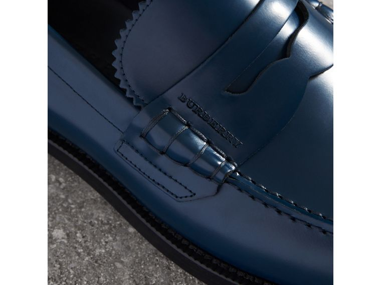 Leather Penny Loafers in Navy - Men | Burberry - cell image 1