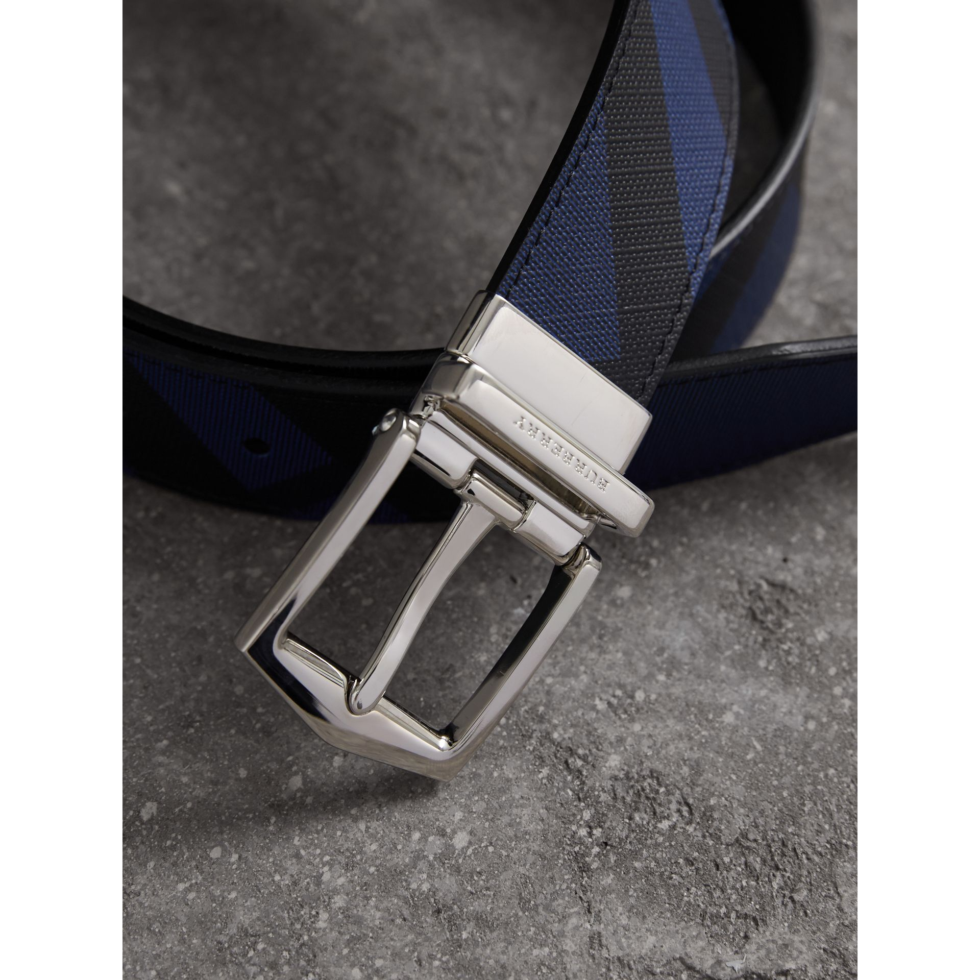 Reversible London Check and Leather Belt in Bright Lapis/black - Men | Burberry Canada - gallery image 2