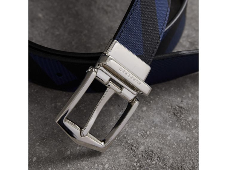 Reversible London Check and Leather Belt in Bright Lapis/black - Men | Burberry Canada - cell image 1