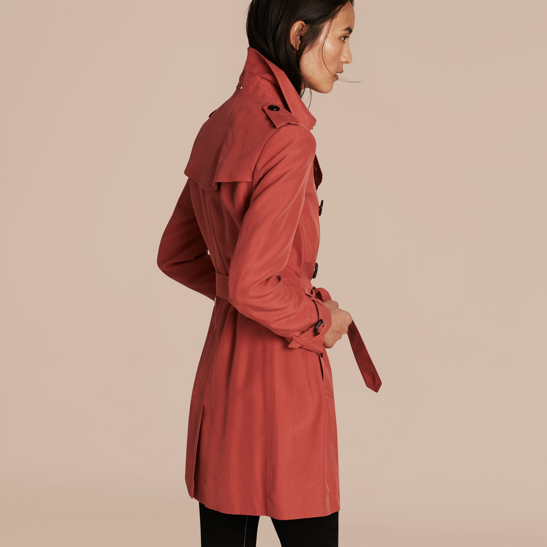 Bright copper pink Silk Trench Coat - gallery image 3