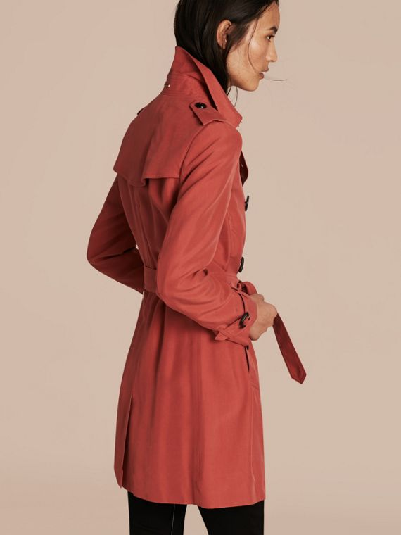 Bright copper pink Silk Trench Coat - cell image 2