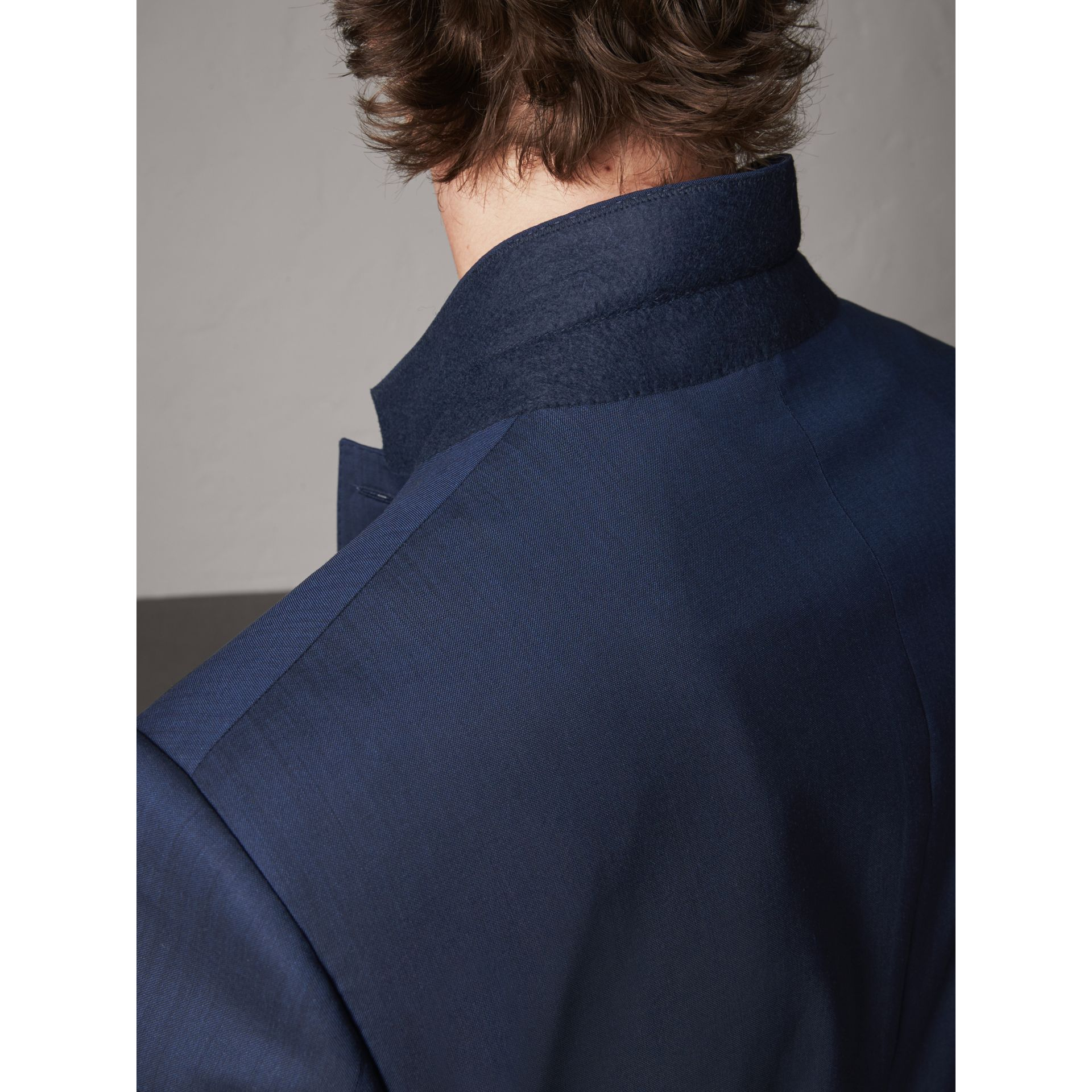 Modern Fit Stretch Wool Suit in Navy - Men | Burberry - gallery image 7
