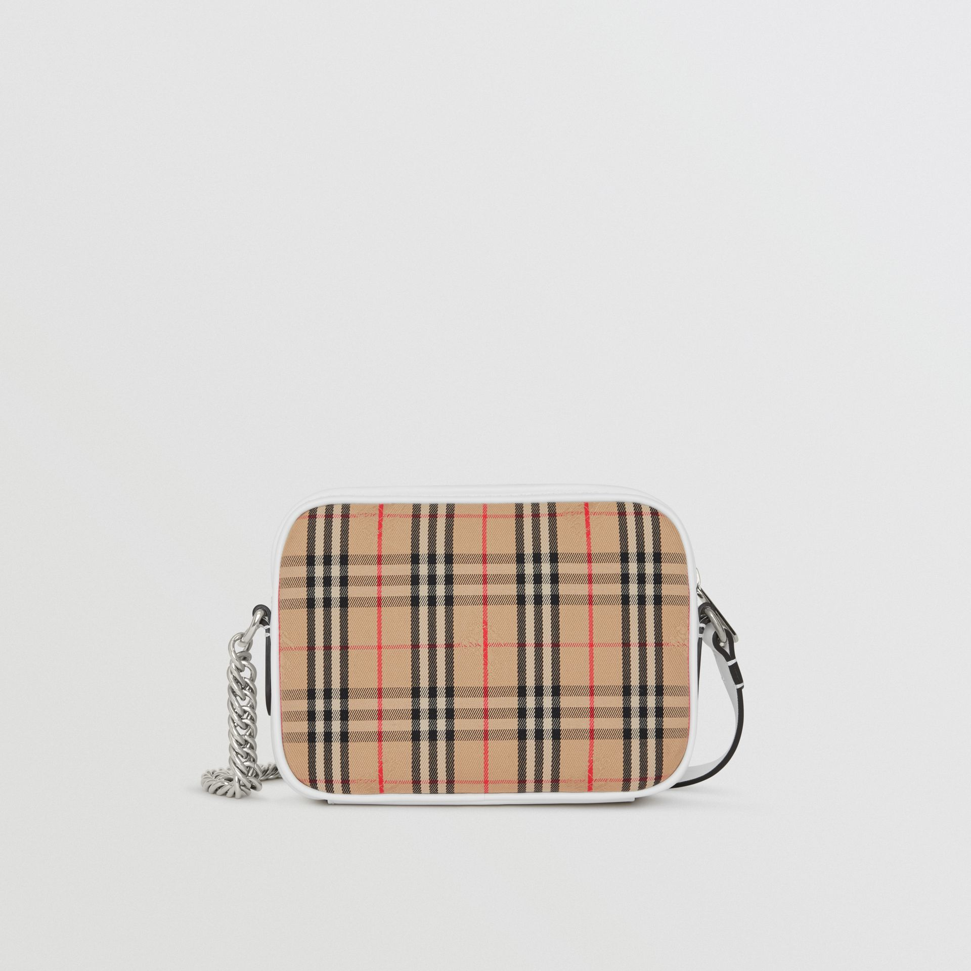 The 1983 Check Link Camera Bag in Chalk White - Women | Burberry - gallery image 7
