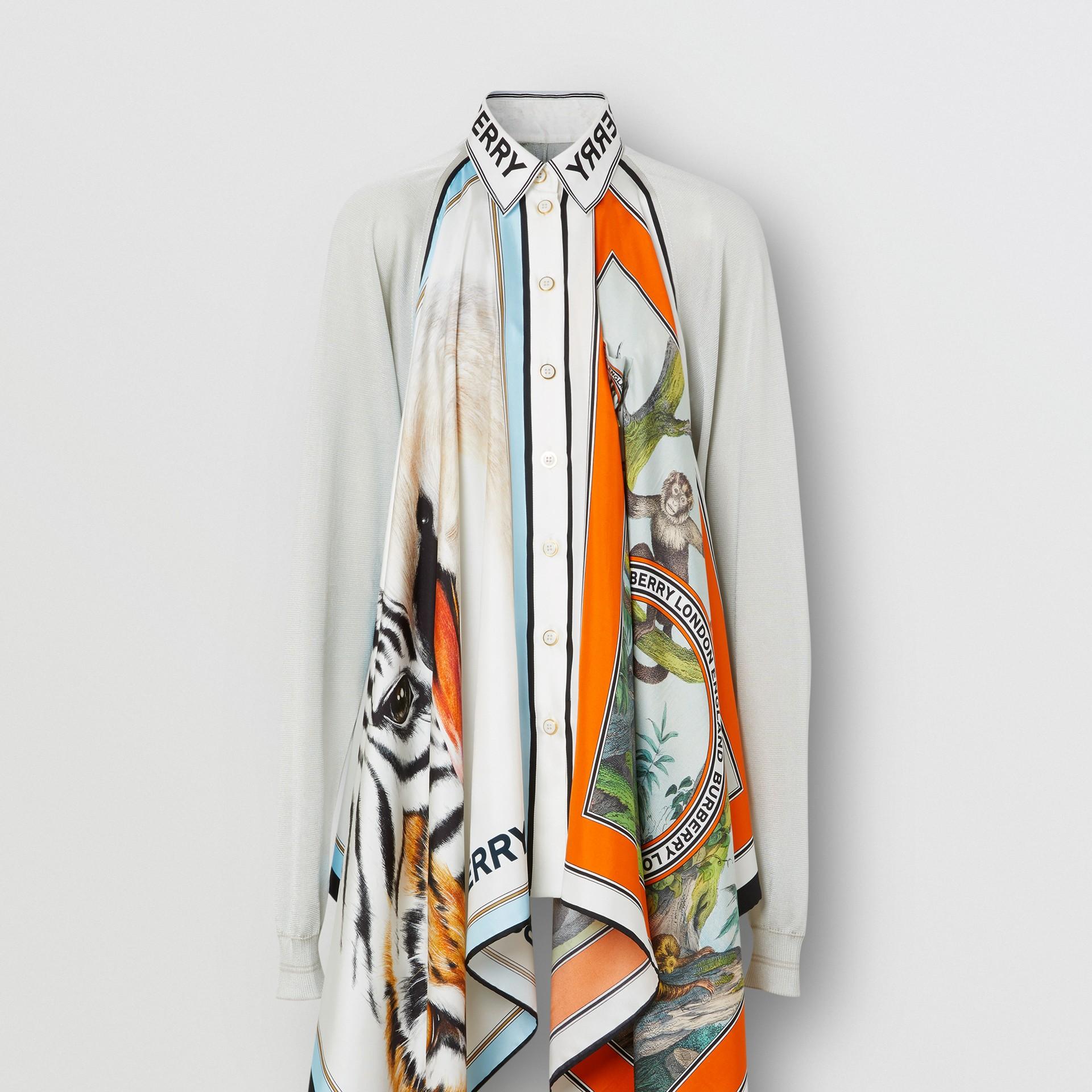 Haut en maille avec foulards en soie à imprimé animalier (Porcelaine) - Femme | Burberry Canada - photo de la galerie 3