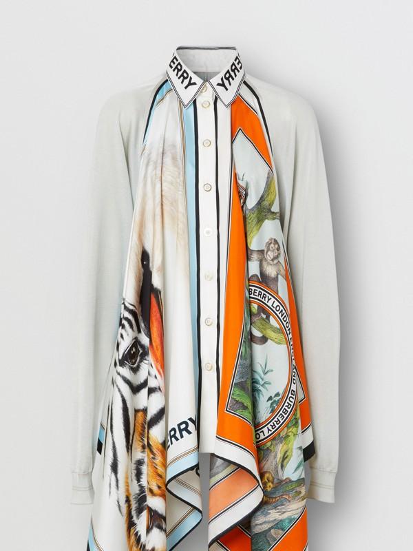 Haut en maille avec foulards en soie à imprimé animalier (Porcelaine) - Femme | Burberry Canada - cell image 3
