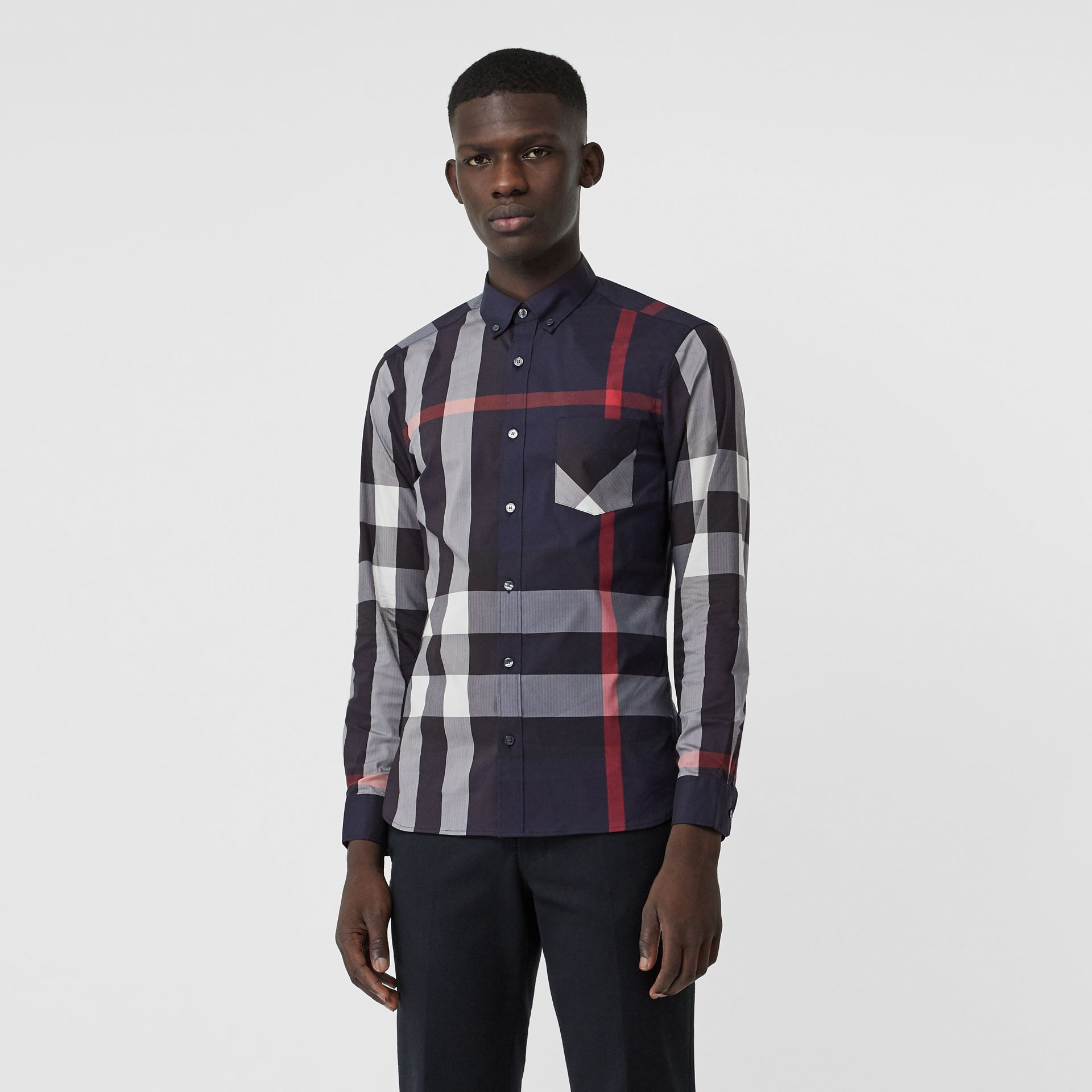 Button-down Collar Check Stretch Cotton Blend Shirt in Navy - Men | Burberry United Kingdom - gallery image 0