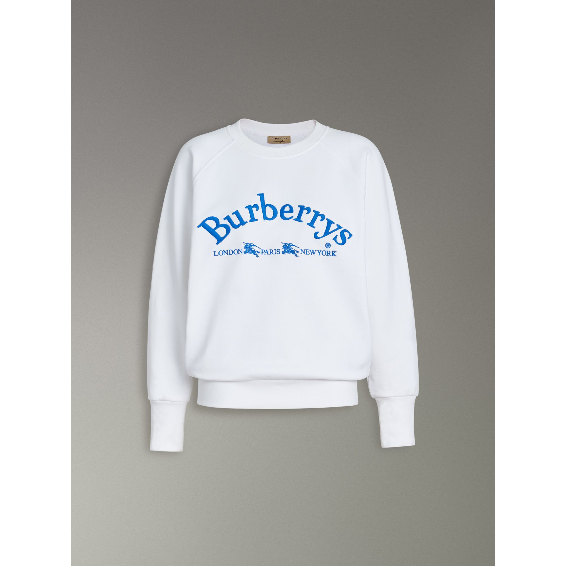 Embroidered Archive Logo Jersey Sweatshirt in White - Women | Burberry - gallery image 3
