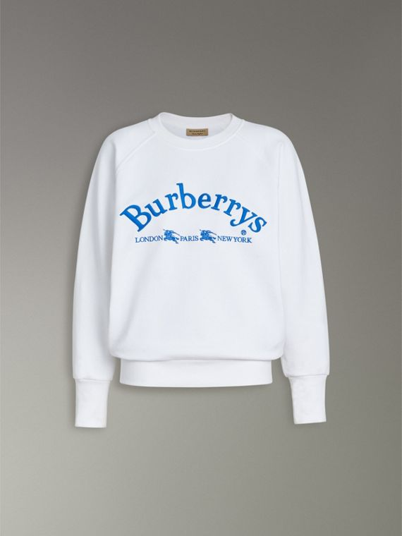 Embroidered Archive Logo Jersey Sweatshirt in White - Women | Burberry Hong Kong - cell image 3