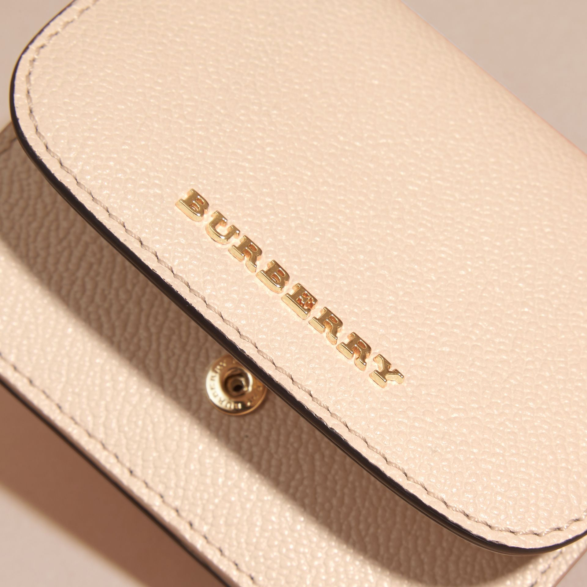 Grainy Leather Card Case in Limestone - Women | Burberry - gallery image 2