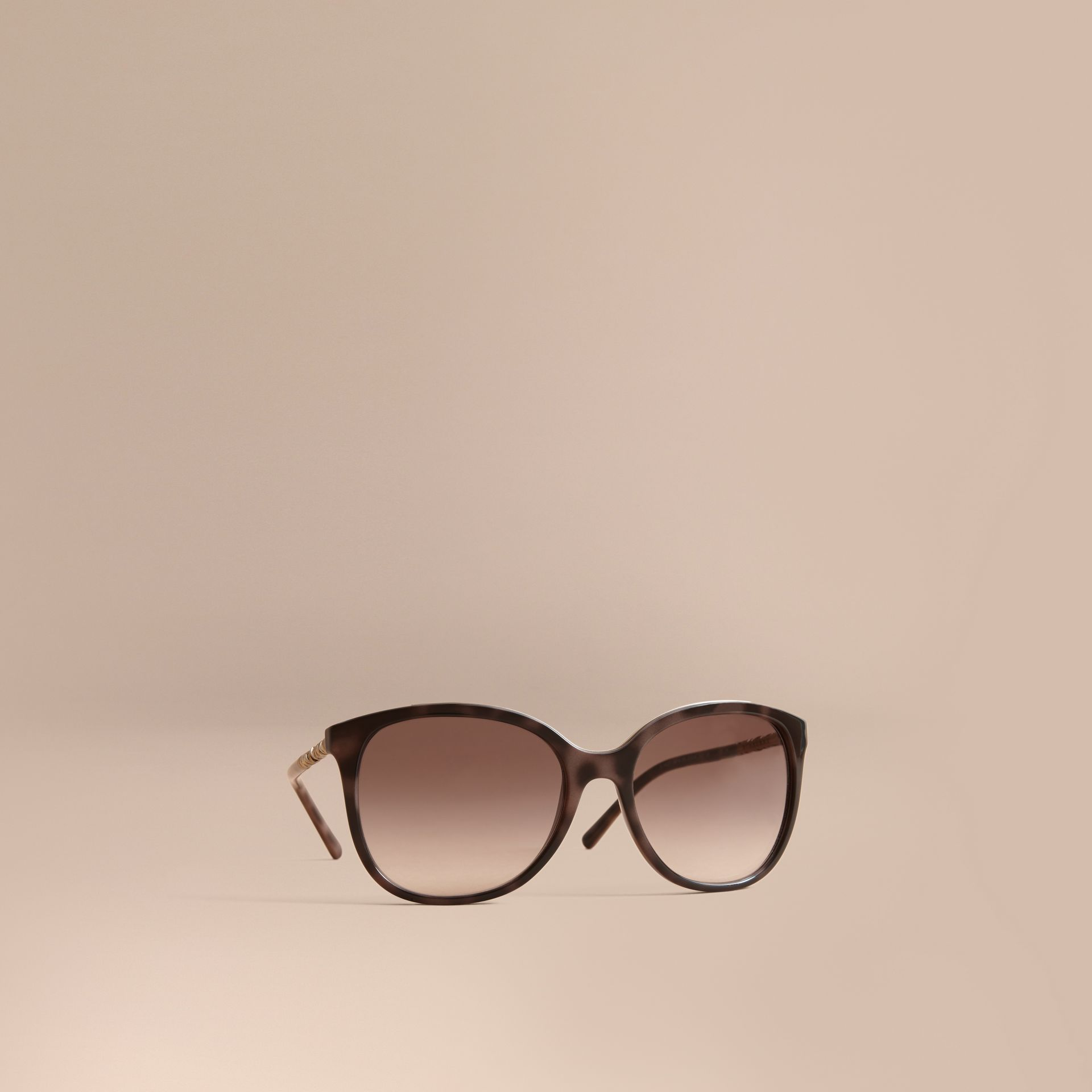 Check Detail Square Frame Sunglasses in Tortoiseshell - Women | Burberry Singapore - gallery image 1