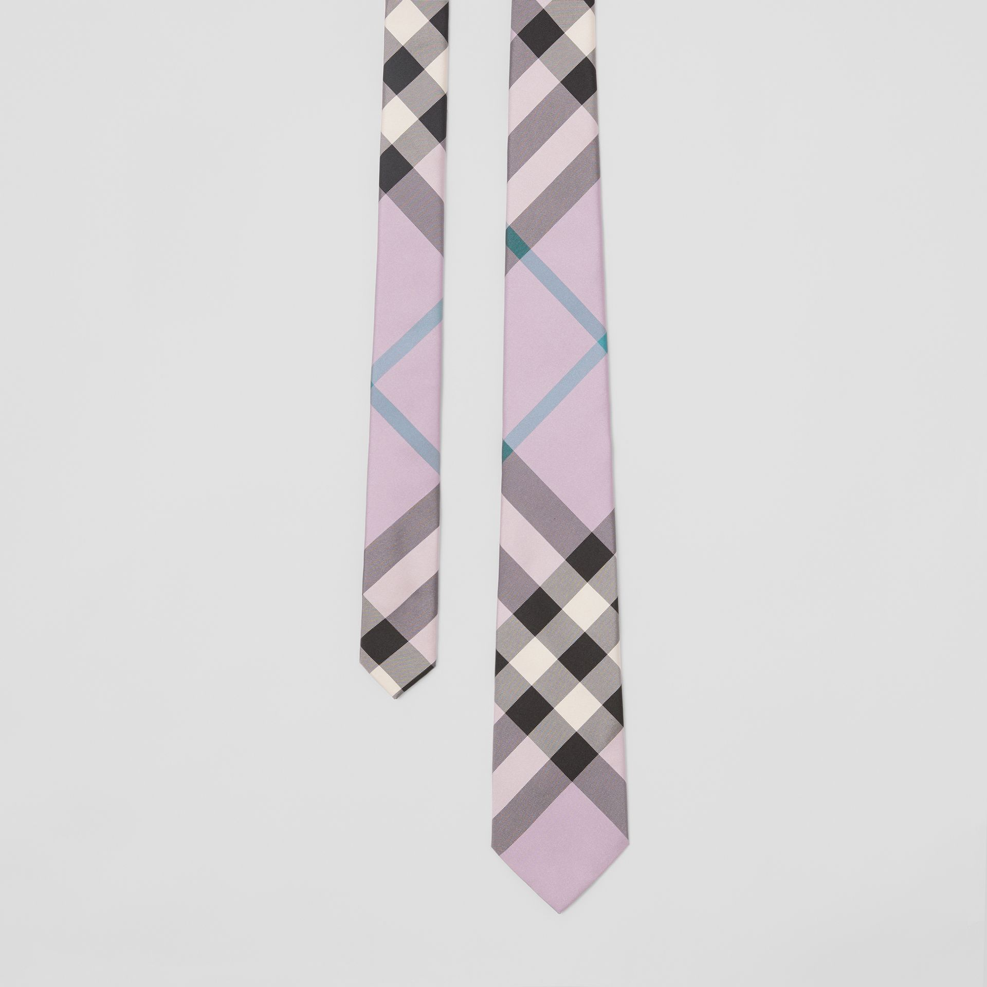 Modern Cut Check Silk Tie in Lilac - Men | Burberry Australia - gallery image 0