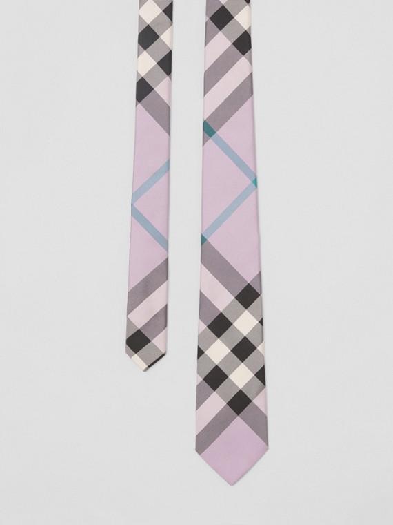 Modern Cut Check Silk Tie in Lilac
