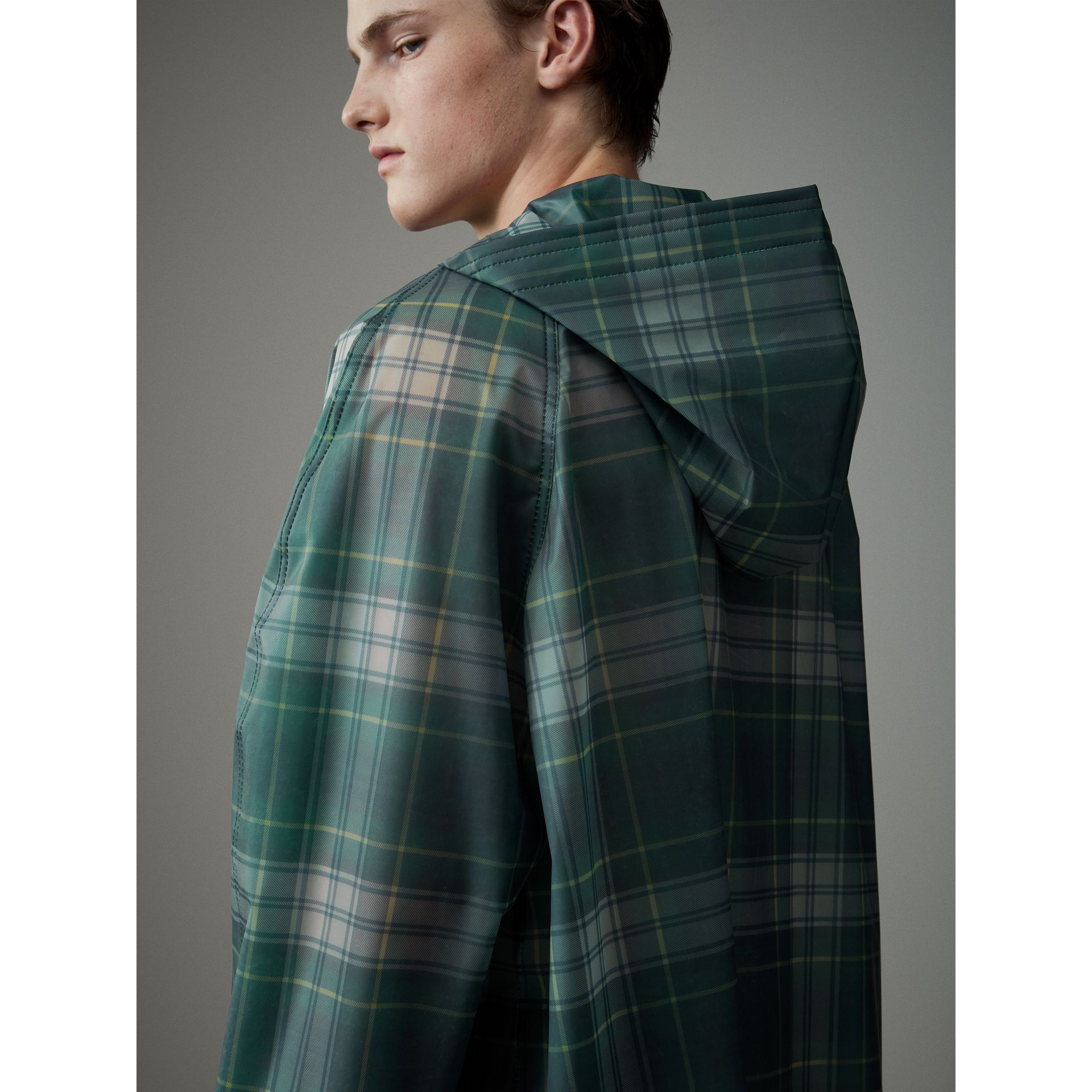 Tartan Soft-touch Plastic Hooded Car Coat in Navy - Men | Burberry - gallery image 6