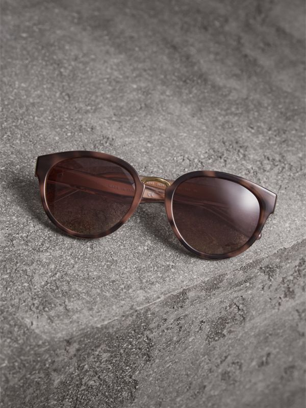 Check Detail Cat-eye Frame Sunglasses in Mink - Women | Burberry United Kingdom - cell image 2