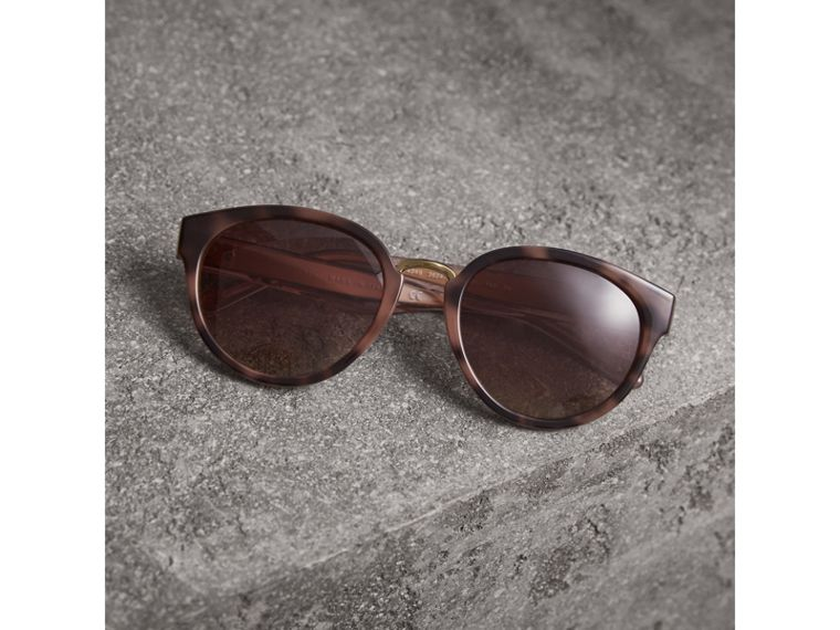 Check Detail Cat-eye Frame Sunglasses in Mink - Women | Burberry - cell image 2
