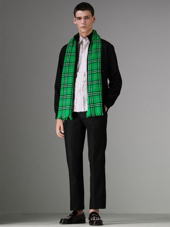 Check Cashmere Scarf in Bright Grass Green | Burberry Singapore - cell image 2