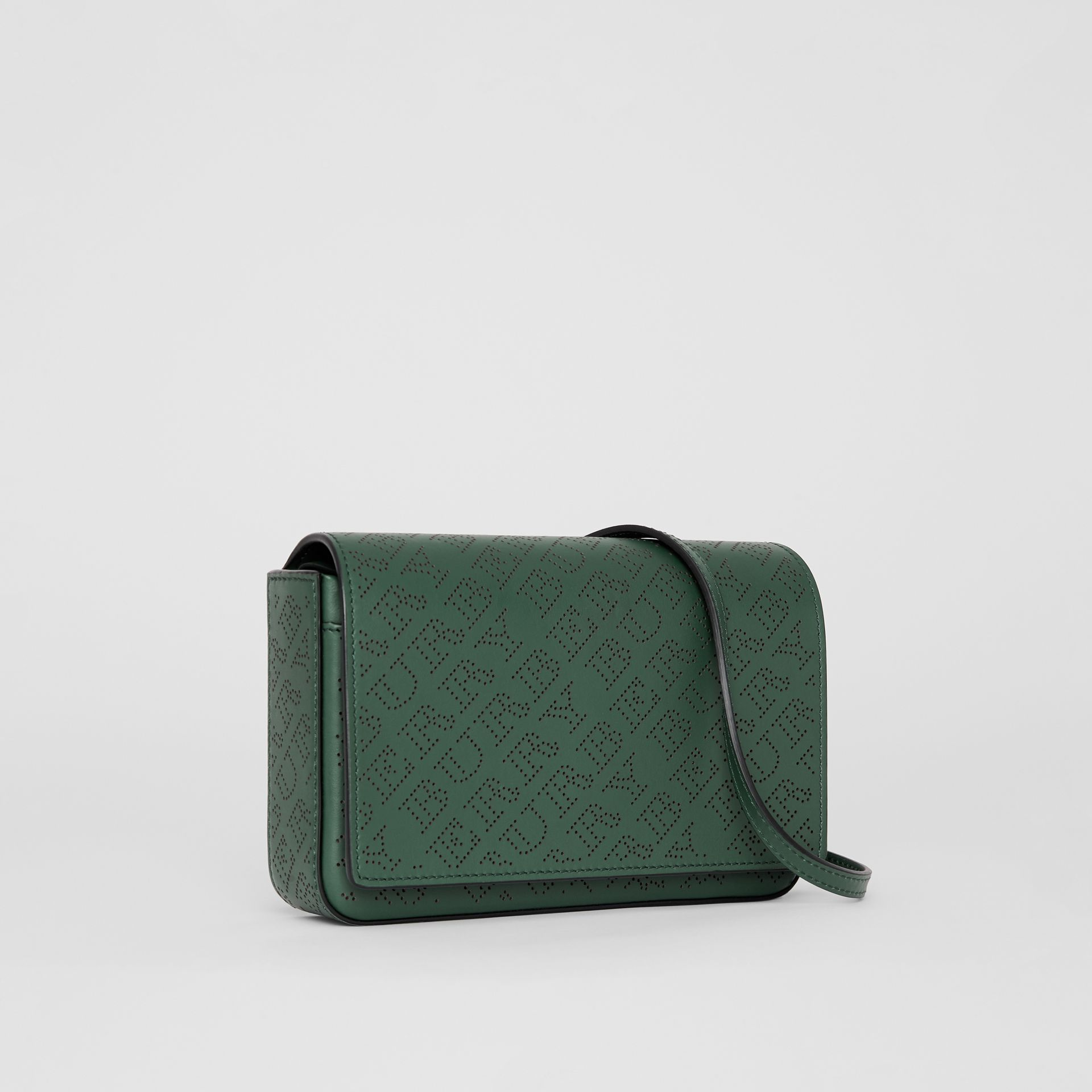Perforated Logo Leather Wallet with Detachable Strap in Vintage Green - Women | Burberry - gallery image 4