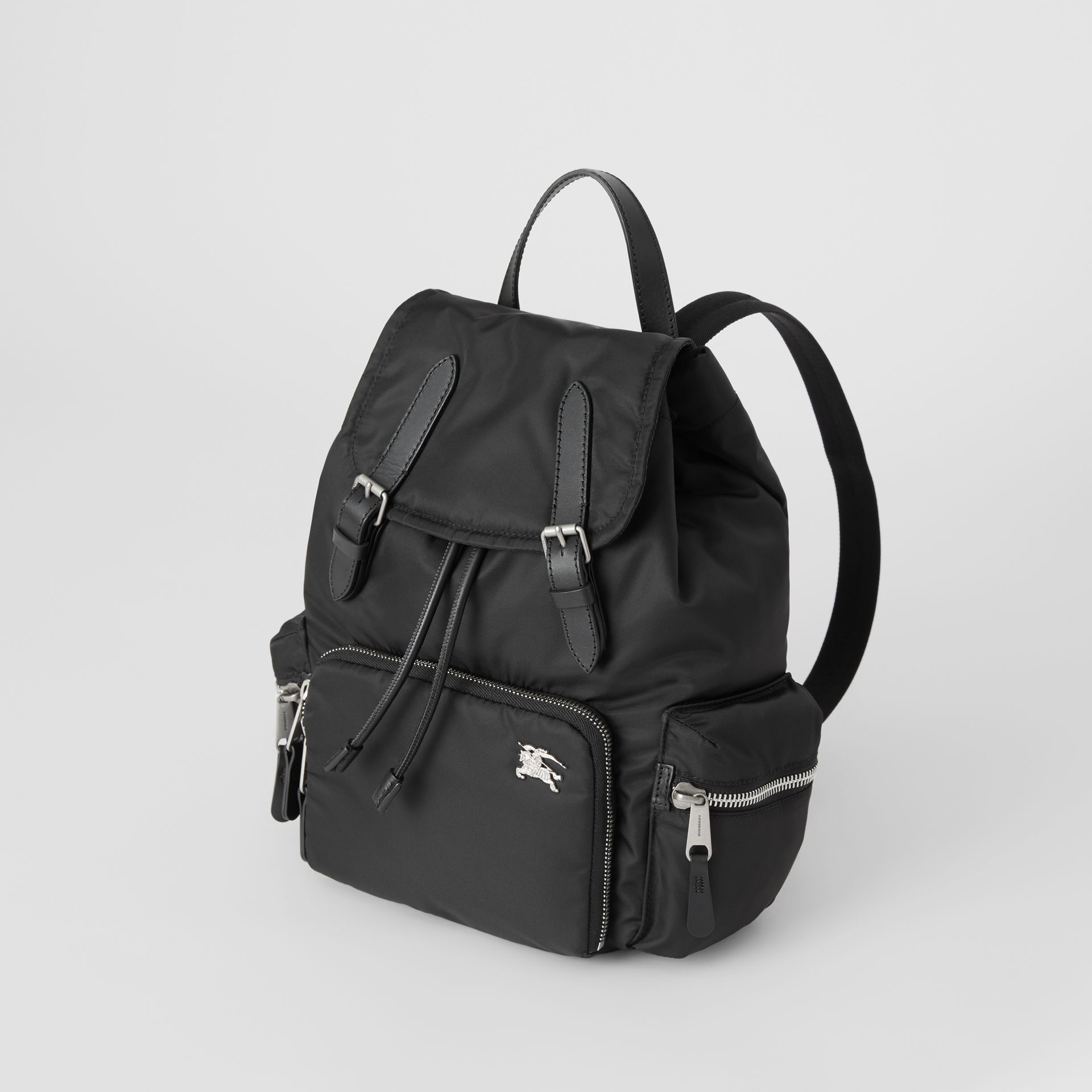 The Medium Rucksack in Nylon and Leather in Black - Women | Burberry - gallery image 4