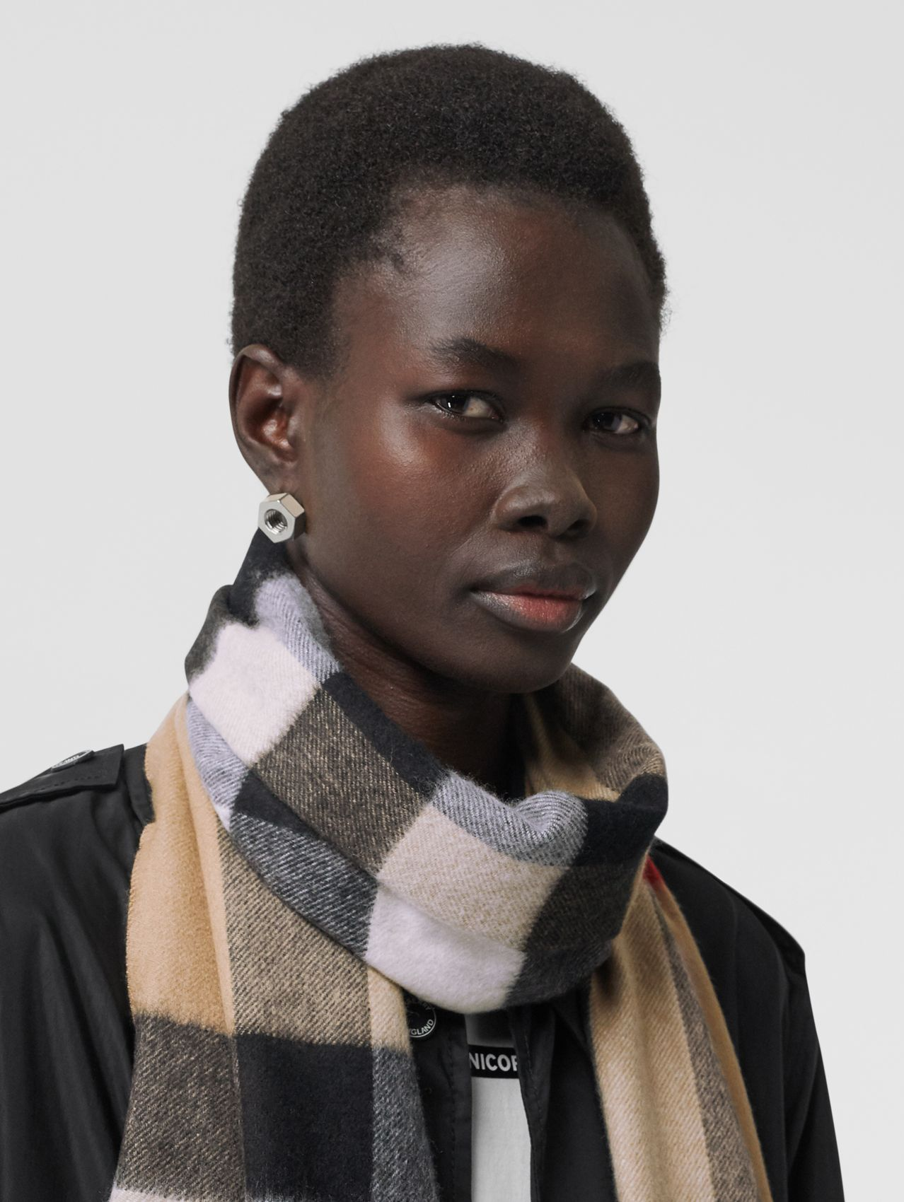 Check Cashmere Scarf (Archive Beige)