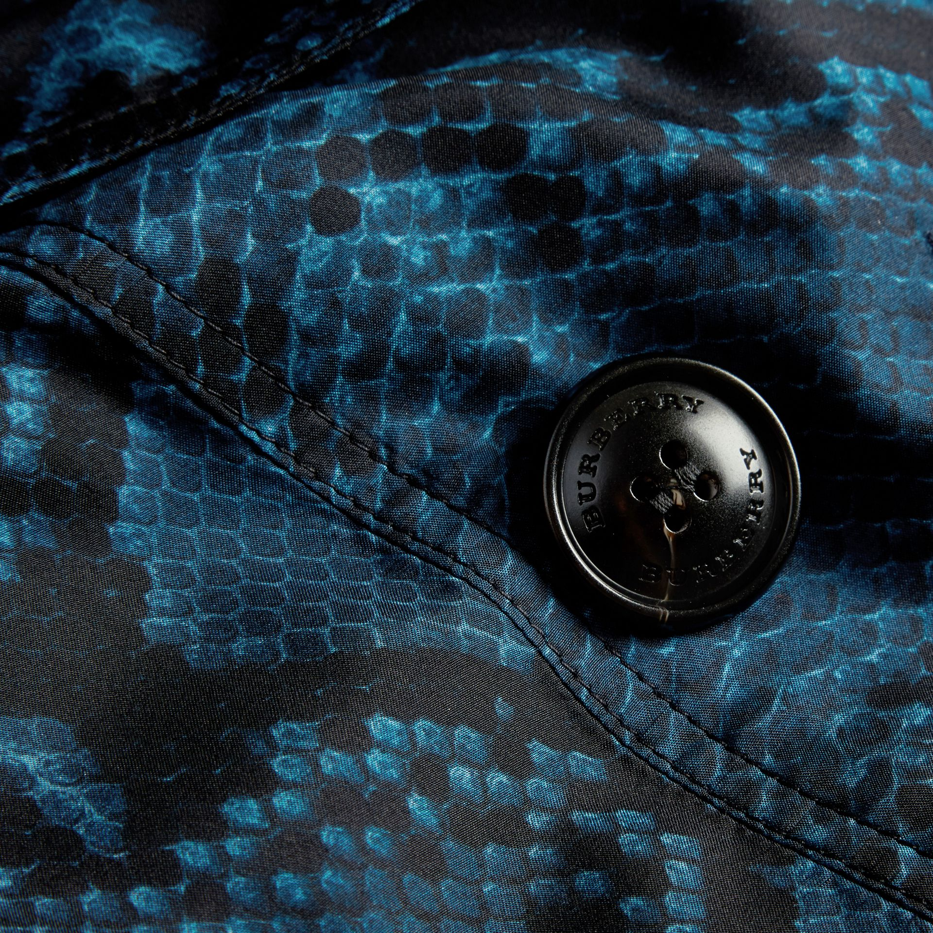 Mineral blue Python Print Silk Trench Coat Mineral Blue - gallery image 2