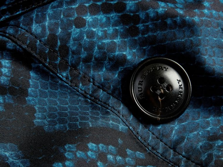 Mineral blue Python Print Silk Trench Coat Mineral Blue - cell image 1