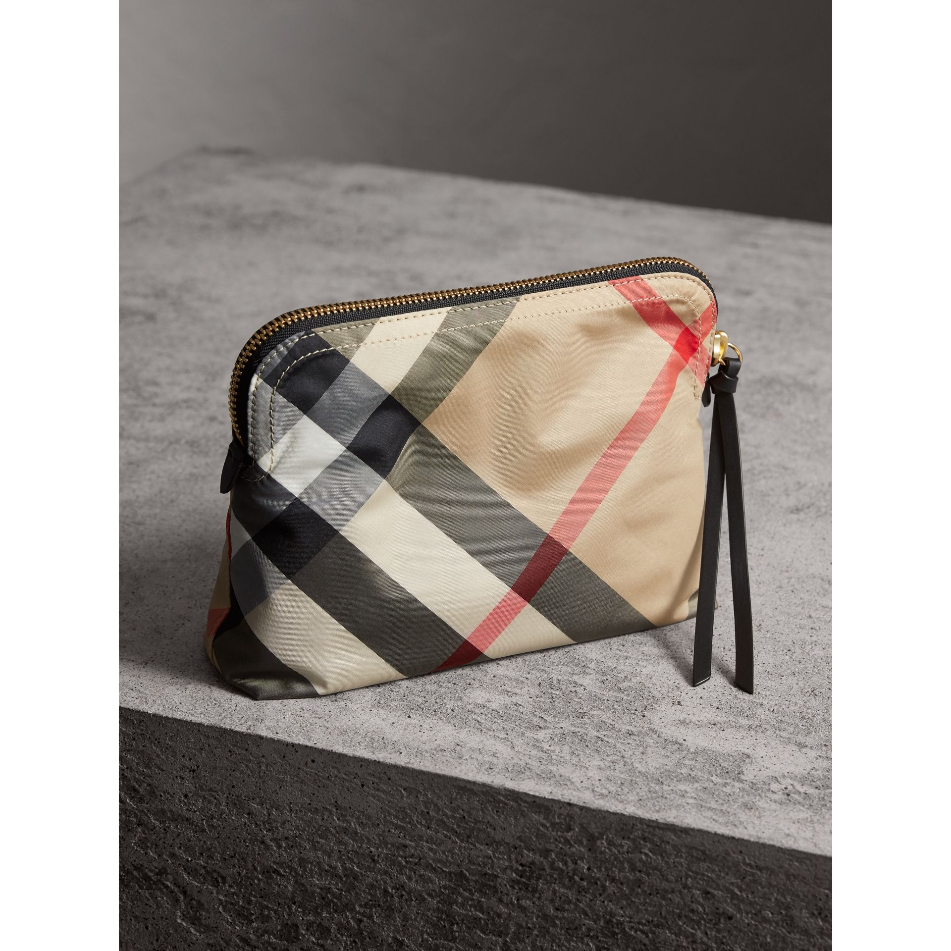 Large Zip-top Check Pouch in Camel - Women | Burberry - gallery image 3