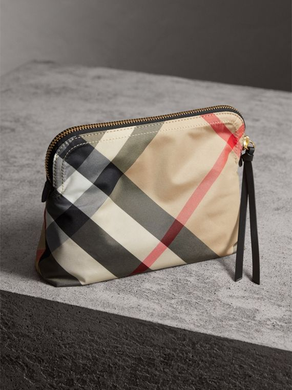 Large Zip-top Check Pouch in Camel - Women | Burberry - cell image 3