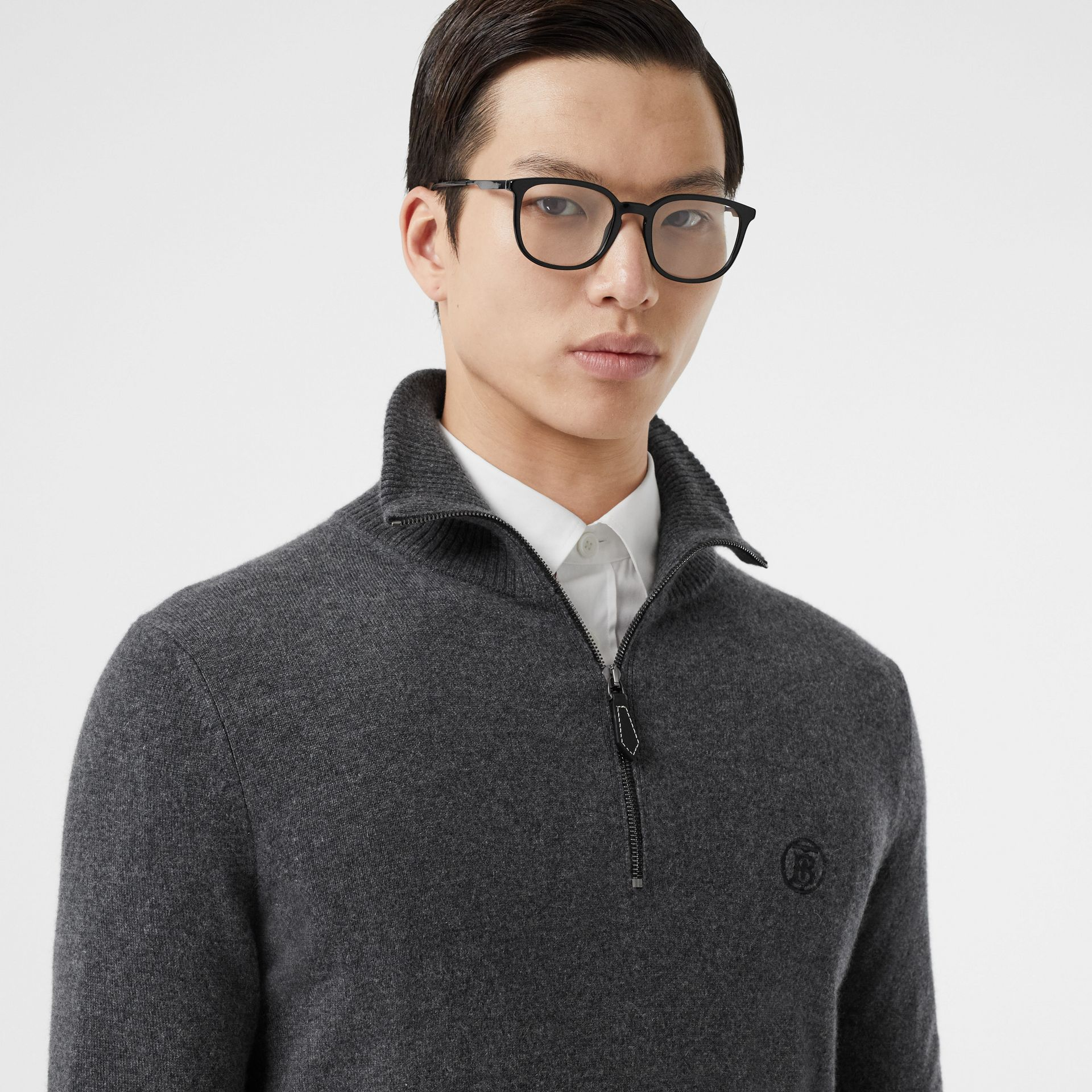Monogram Motif Cashmere Funnel Neck Sweater in Steel Grey - Men | Burberry - gallery image 1