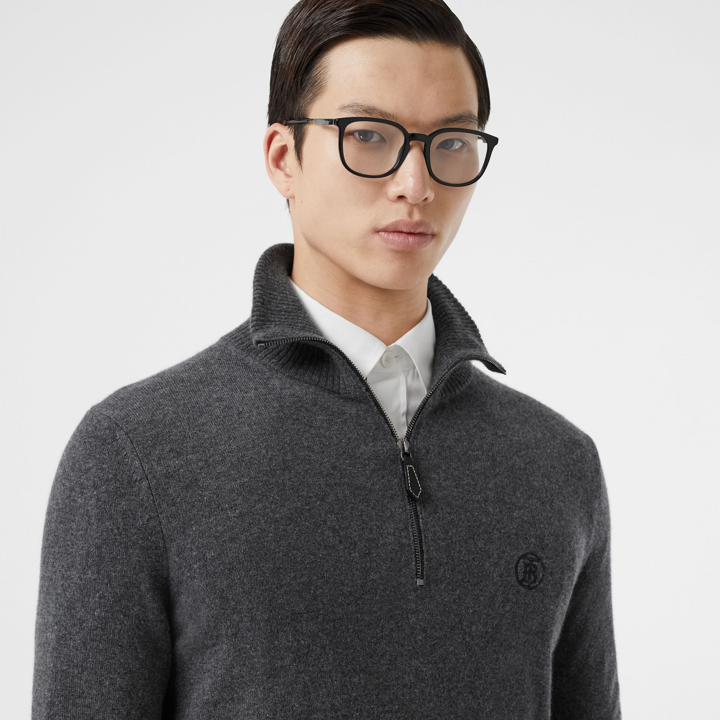 Monogram Motif Cashmere Funnel Neck Sweater in Steel Grey - Men | Burberry - 2
