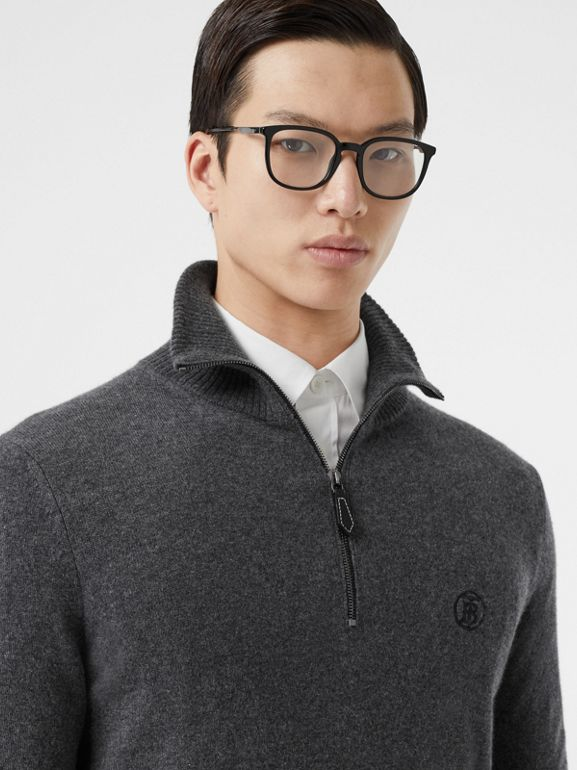 Monogram Motif Cashmere Funnel Neck Sweater in Steel Grey - Men | Burberry - cell image 1