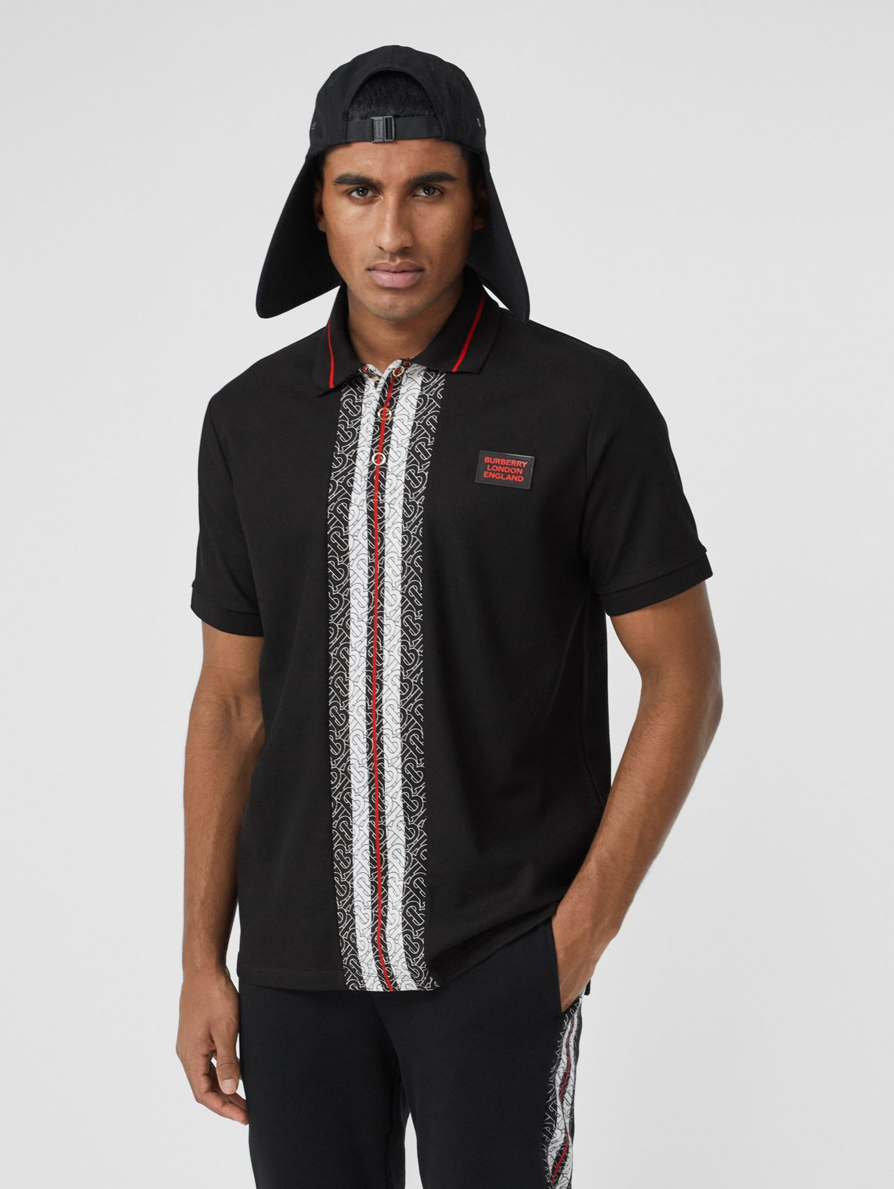 Monogram Stripe Print Cotton Piqué Polo Shirt (Black)