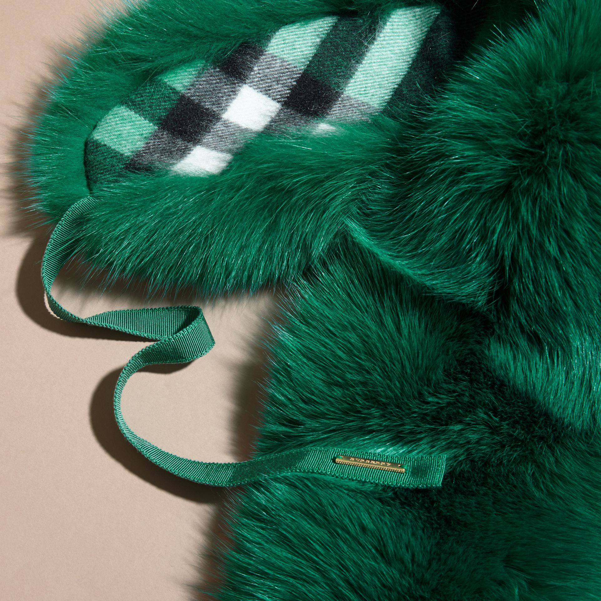 Fox Fur Collar with Check Cashmere Lining Emerald - gallery image 2
