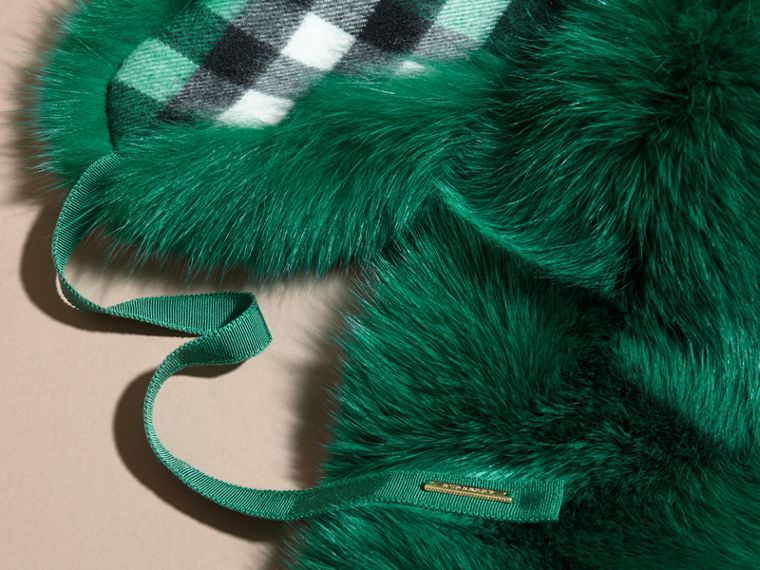 Fox Fur Collar with Check Cashmere Lining Emerald - cell image 1