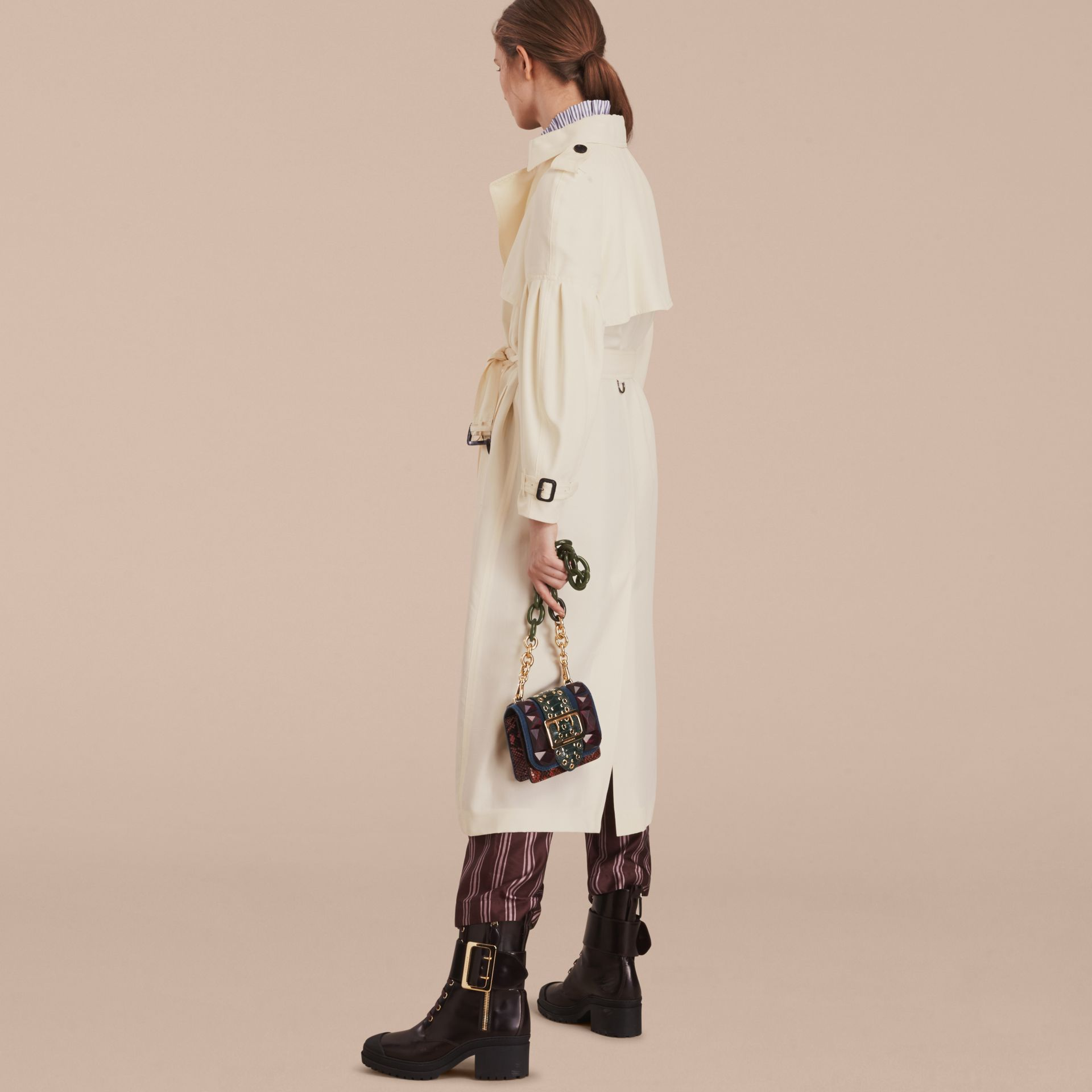 Oversize Silk Trench Coat with Puff Sleeves in Parchment - gallery image 3