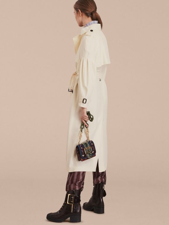 Oversize Silk Trench Coat with Puff Sleeves in Parchment - cell image 2