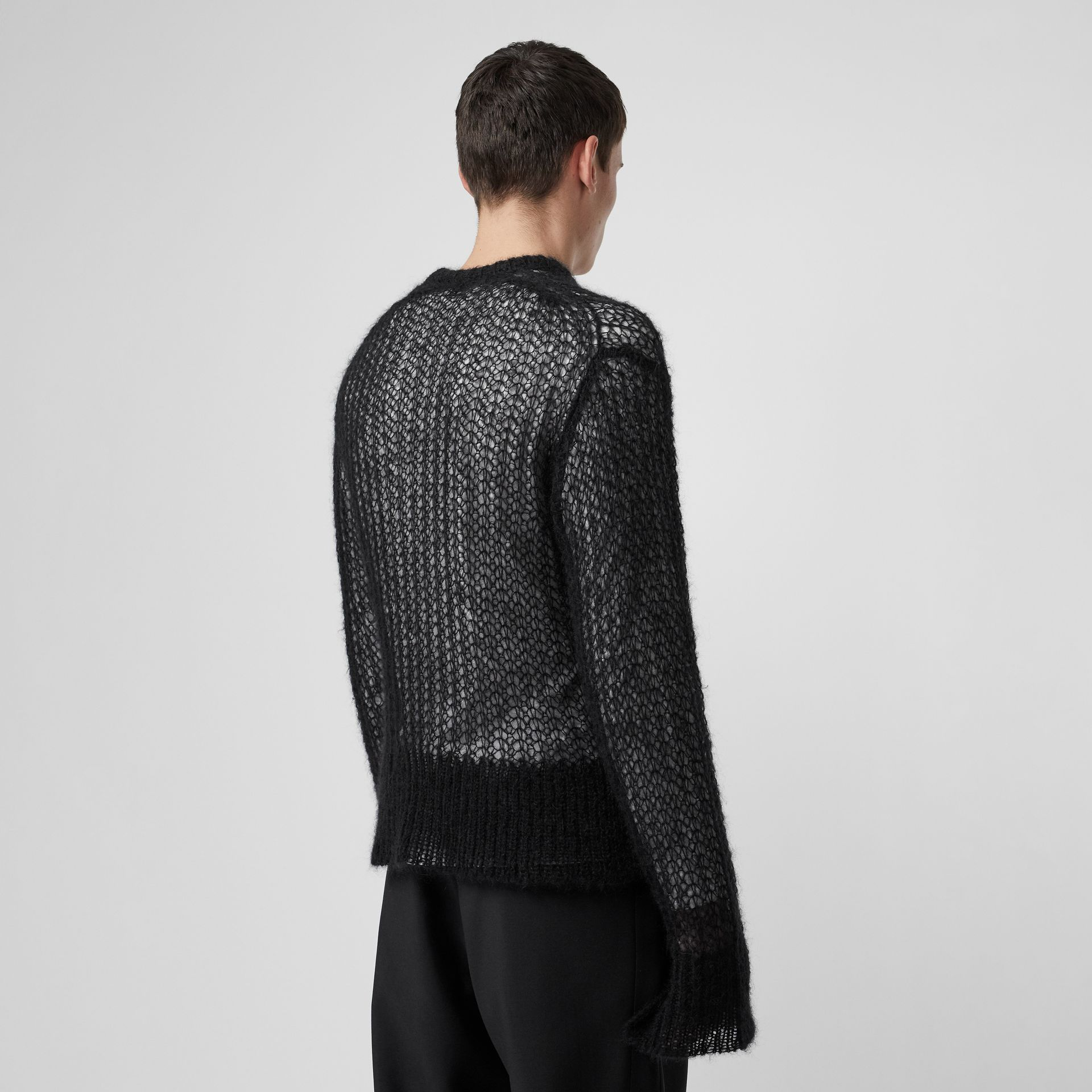 Open Knit Mohair Wool Blend Sweater in Black - Men | Burberry United Kingdom - gallery image 2