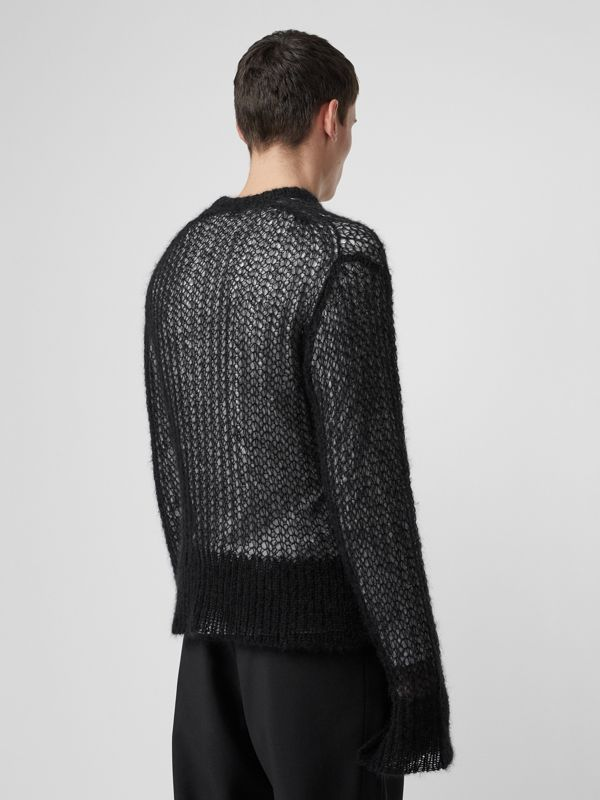Open Knit Mohair Wool Blend Sweater in Black - Men | Burberry Australia - cell image 2