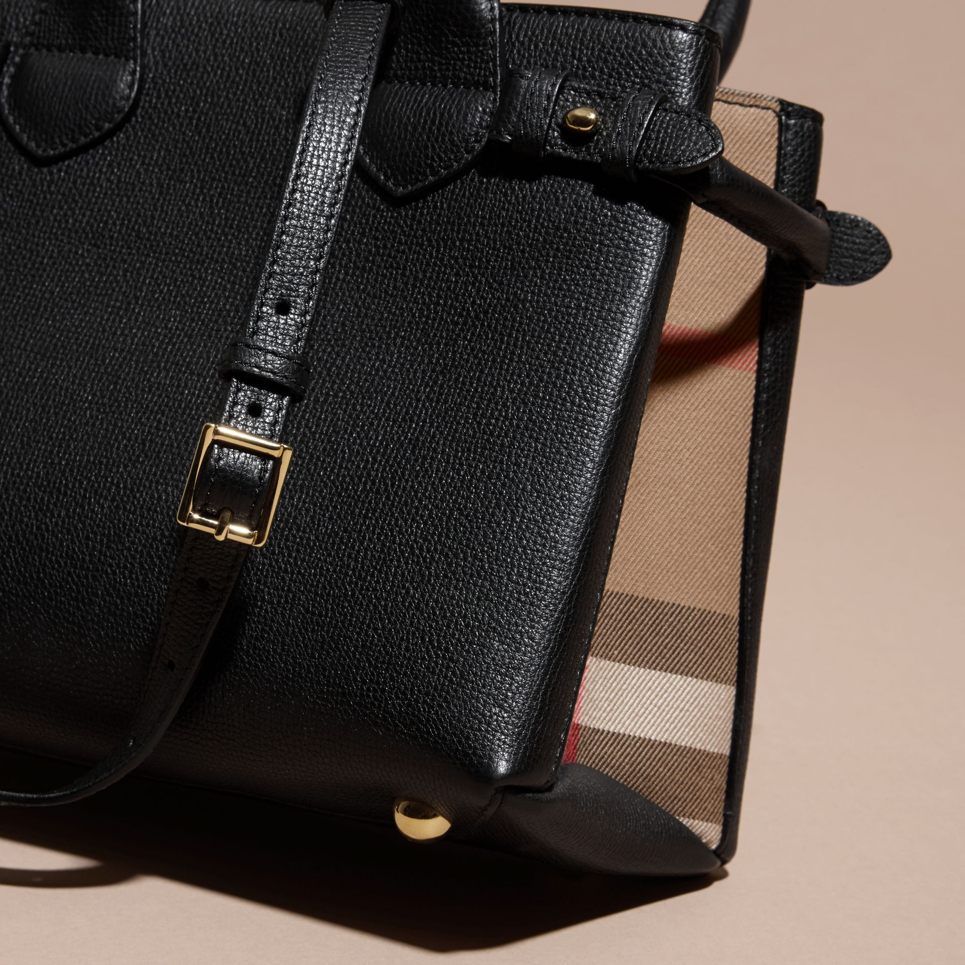 The Small Banner in Leather and House Check in Black - Women | Burberry - gallery image 4