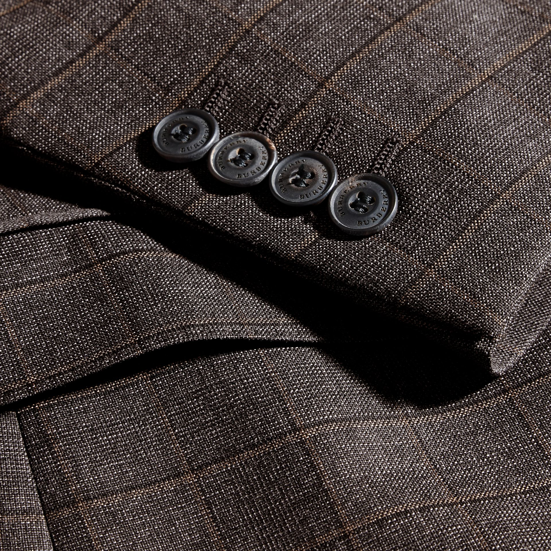 Dark grey melange Modern Fit Check Wool Part-canvas Suit - gallery image 2