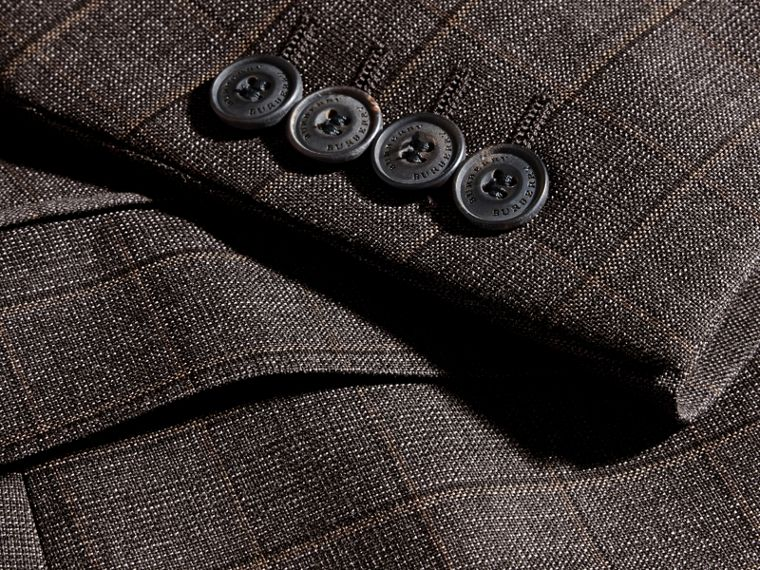 Dark grey melange Modern Fit Check Wool Part-canvas Suit - cell image 1
