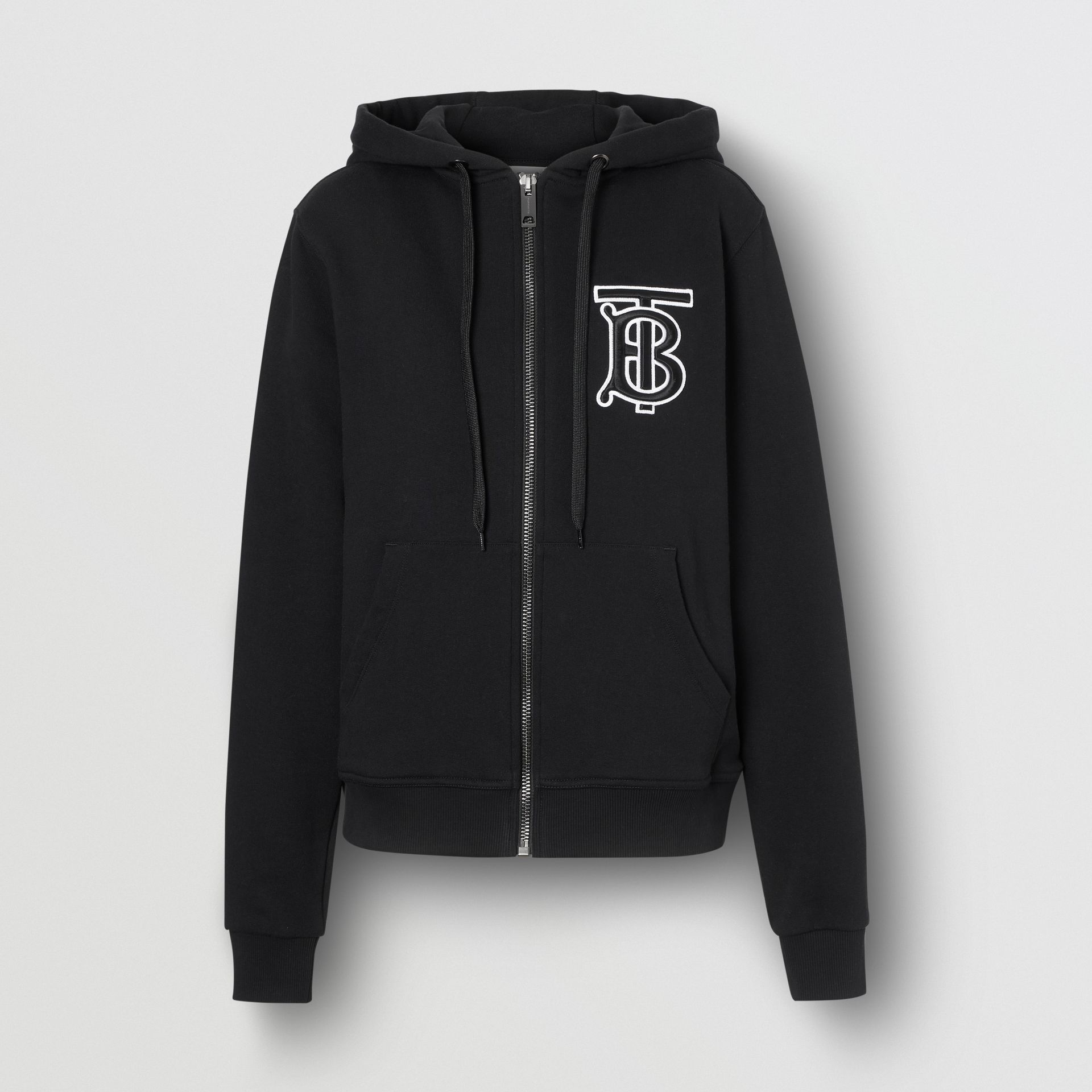 Monogram Motif Cotton Oversized Hooded Top in Black - Women | Burberry Canada - gallery image 3