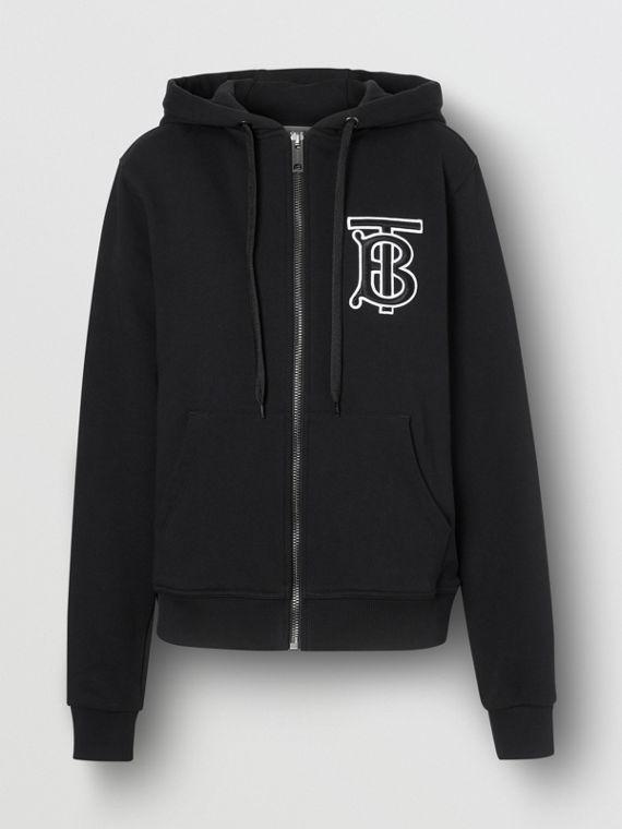 Monogram Motif Cotton Oversized Hooded Top in Black