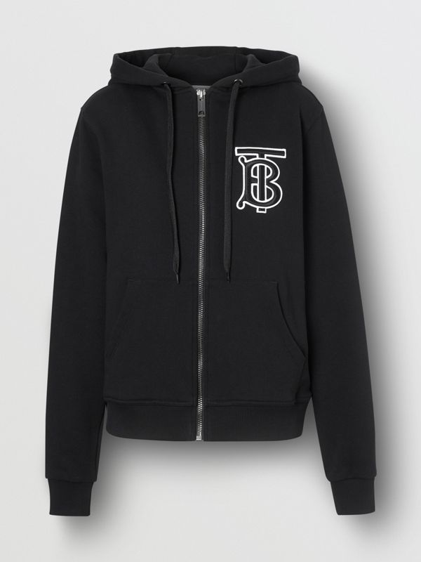 Monogram Motif Cotton Oversized Hooded Top in Black - Women | Burberry Canada - cell image 3