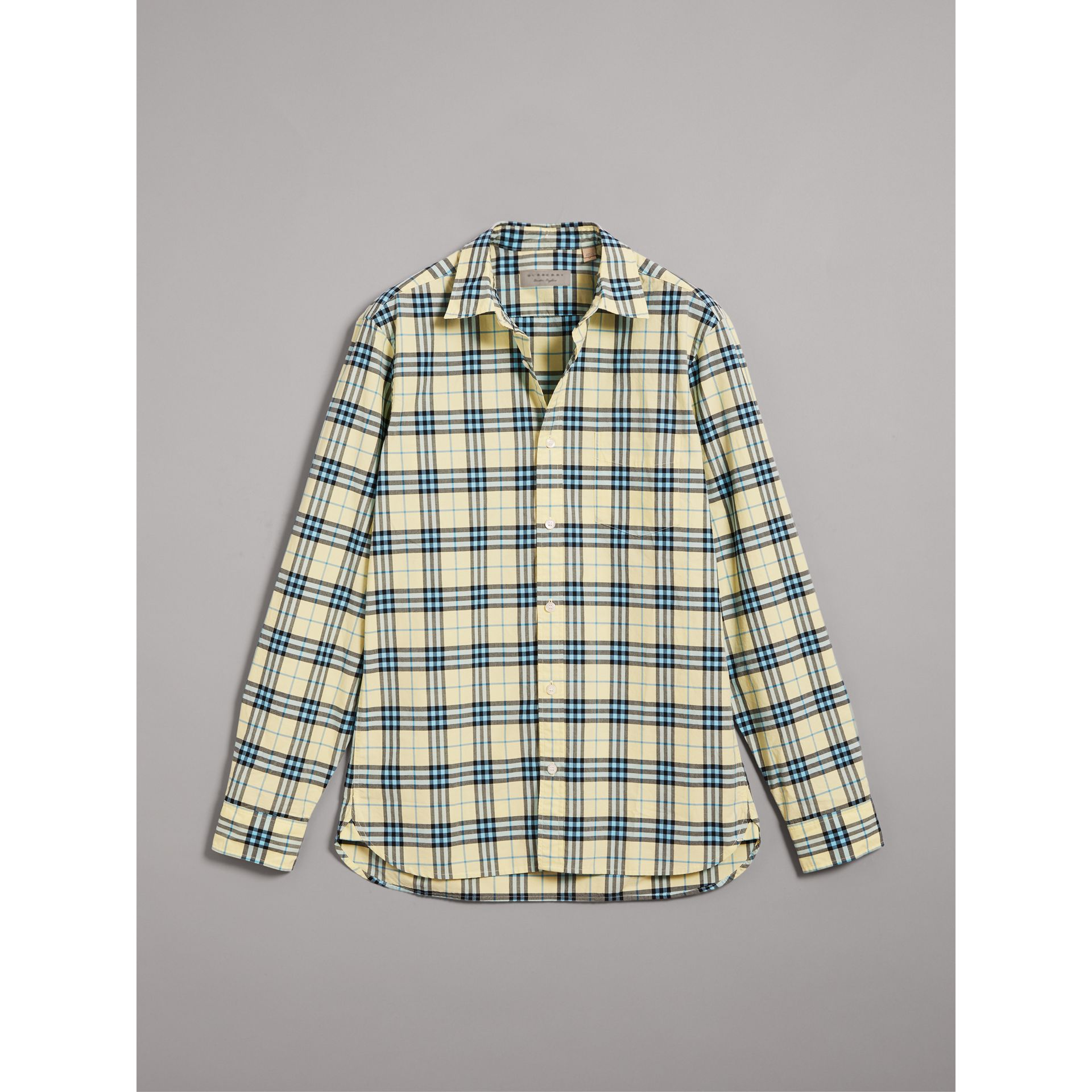 Check Cotton Shirt in Chalk Yellow - Men | Burberry United Kingdom - gallery image 3